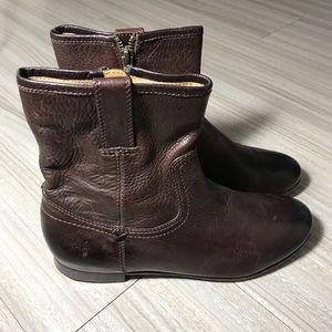 Frye Jillian Short Zip Ankle Boot Brown-Size 6